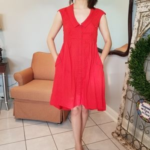 Anthropologie Red Postmark H-15 STCL Hi-Lo dress